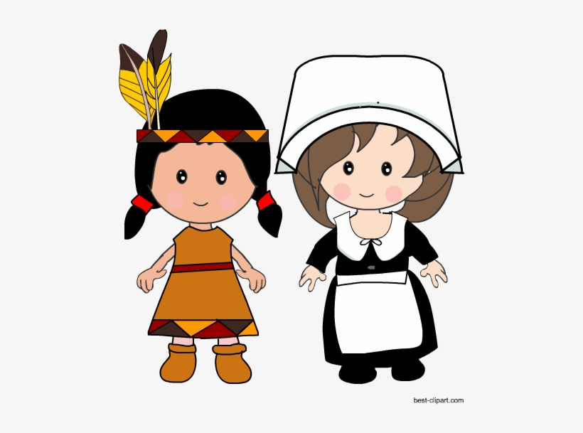 Pilgrim Girl And Native American Girl Clip Art.