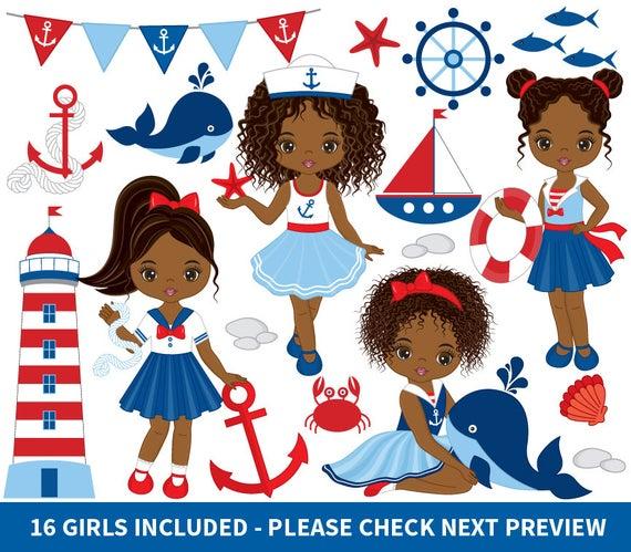 African American Nautical Girls Clipart.