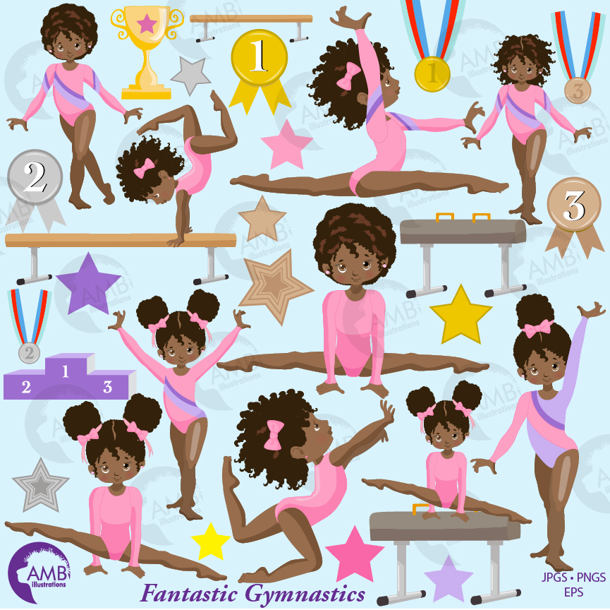 Gymnastic Girls clipart, Gymnast mini bundle, African American Girl gym,  Gymnast clipart, vector graphics, instant download, AMB.