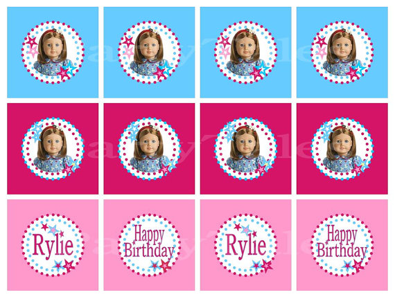 Personalized American girl JULIE doll birthday party cupcake.