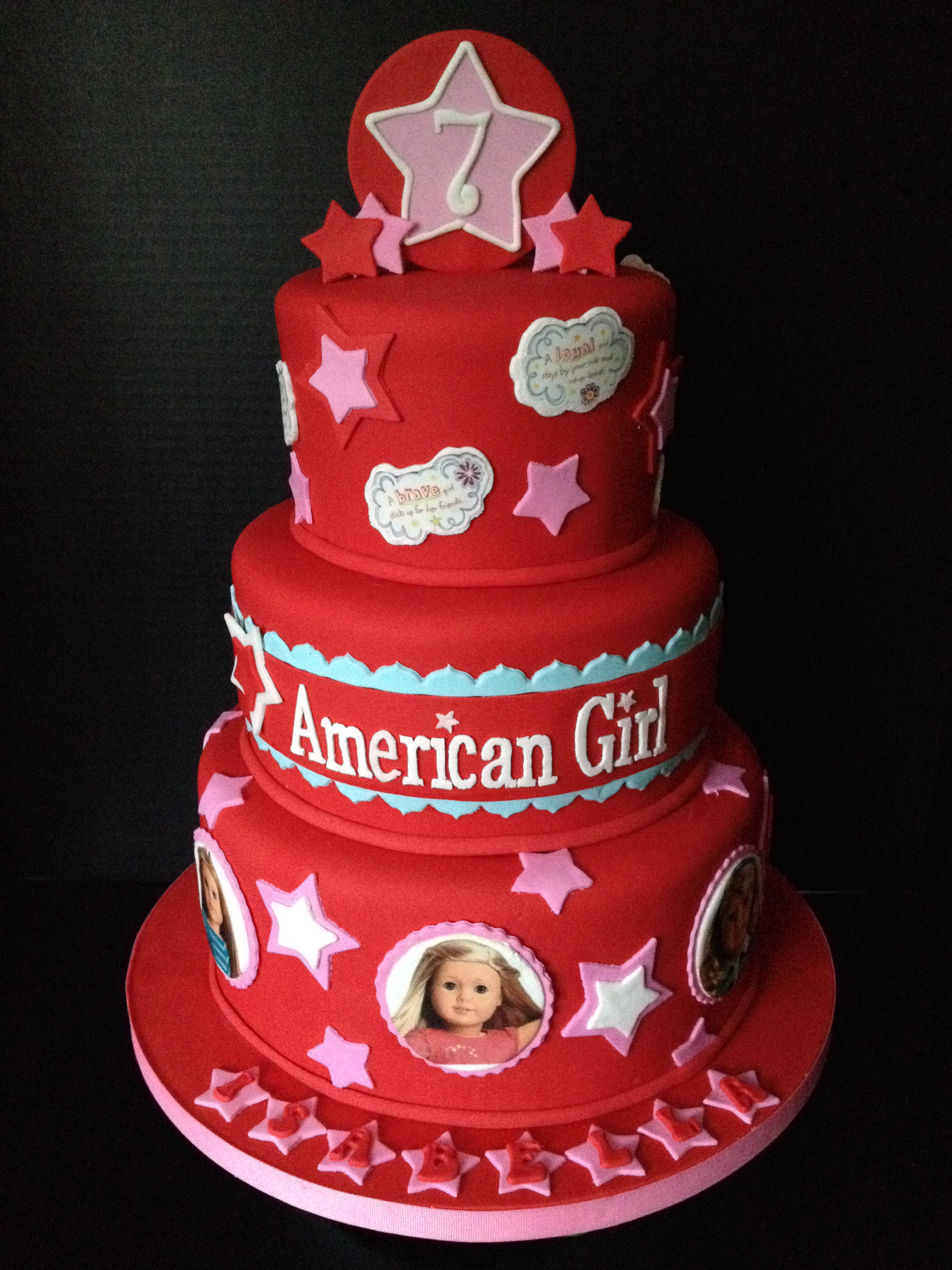 American Girl doll cake. All fondant with edible images..