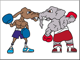 Clip Art: US Government: Political Parties Illustration Color I.