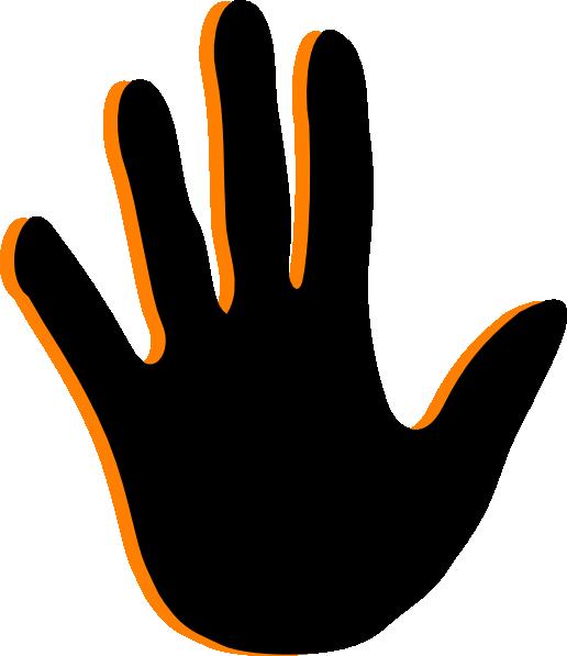 Black Handprint Clip Art free image.