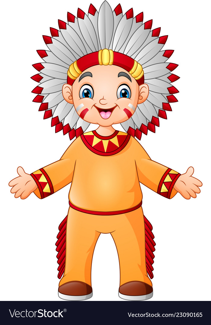 Cartoon boy native american indian with traditiona.
