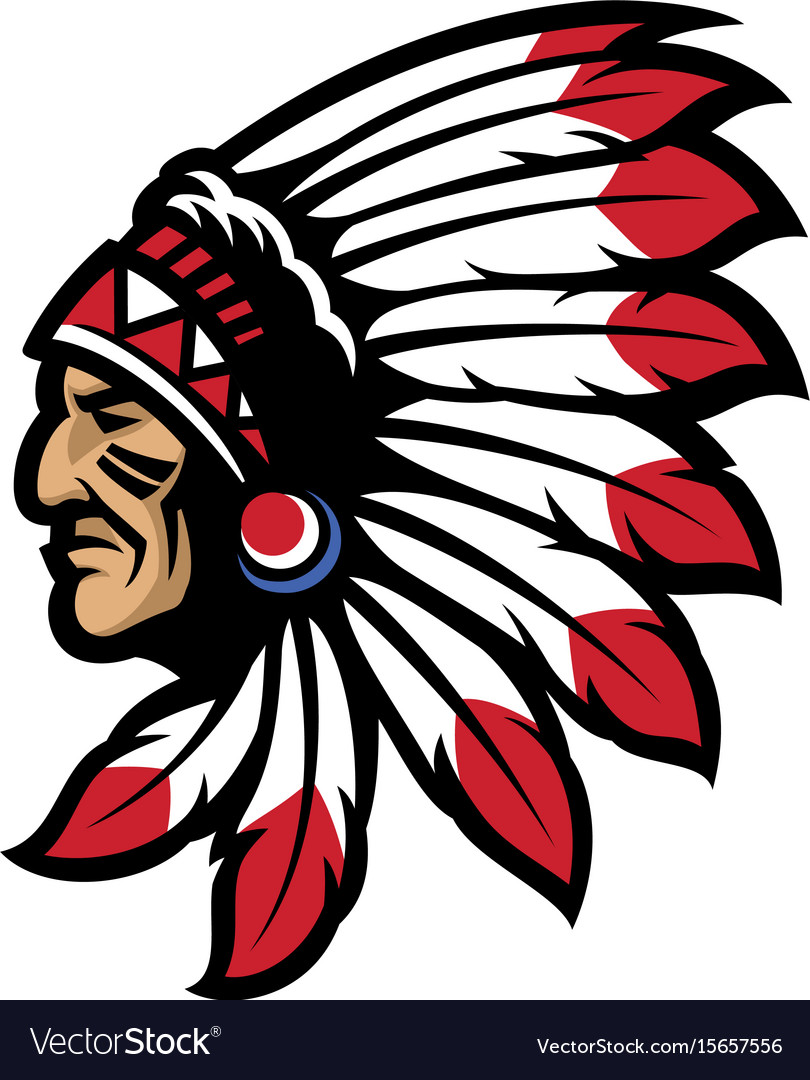 American native chief head mascot.