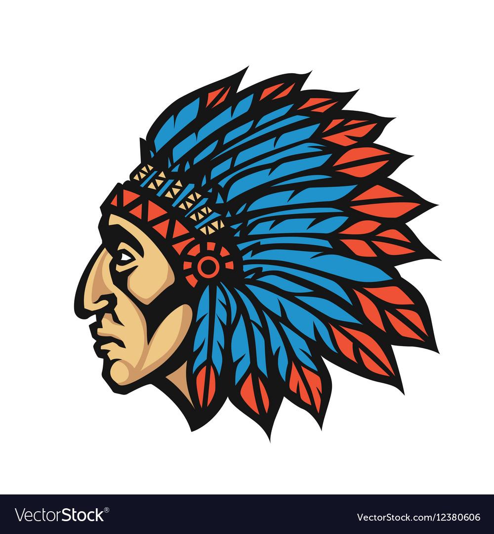 Native American Indian Chief head profile Mascot.