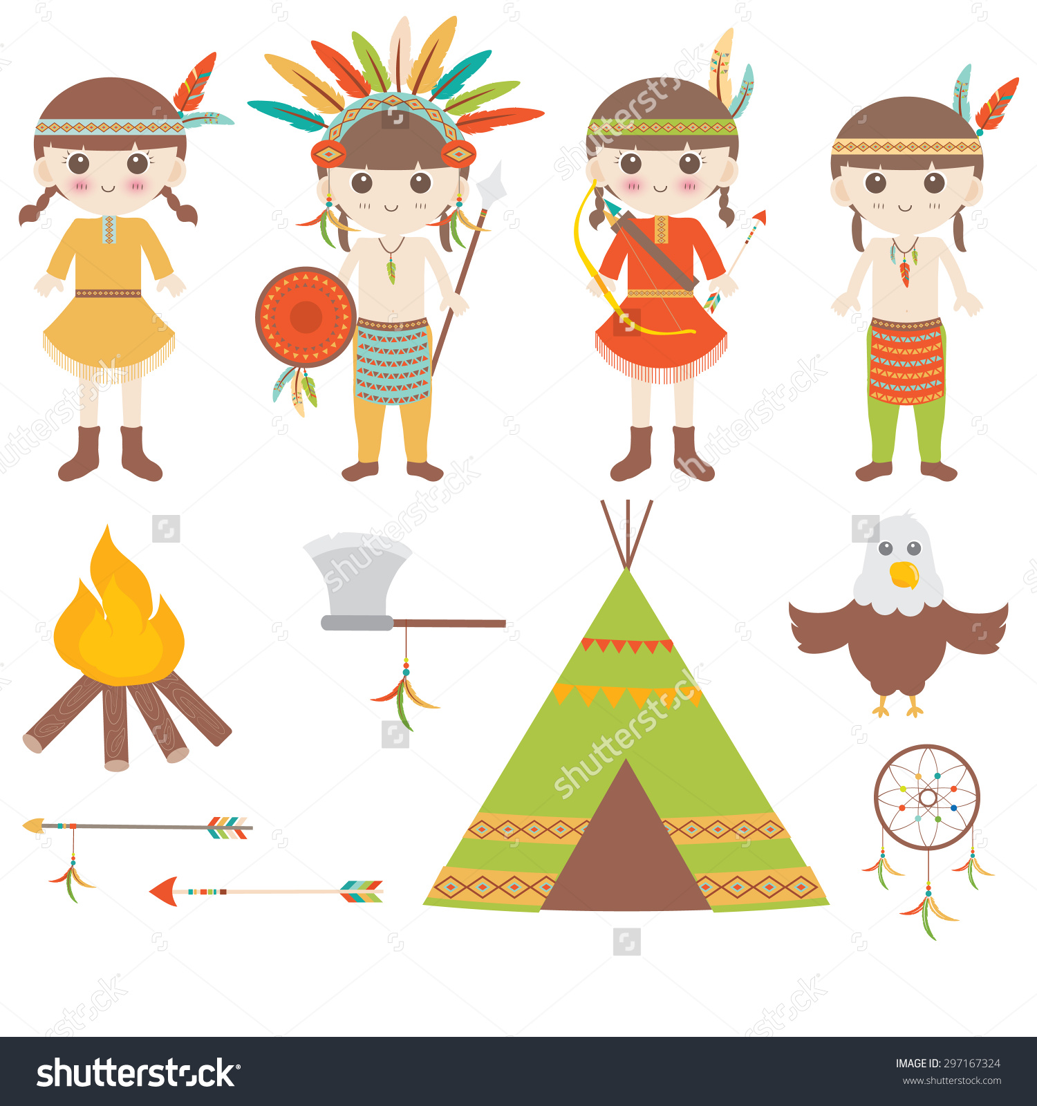 American Indian Clipart Icons Design Stock Vector 297167324.