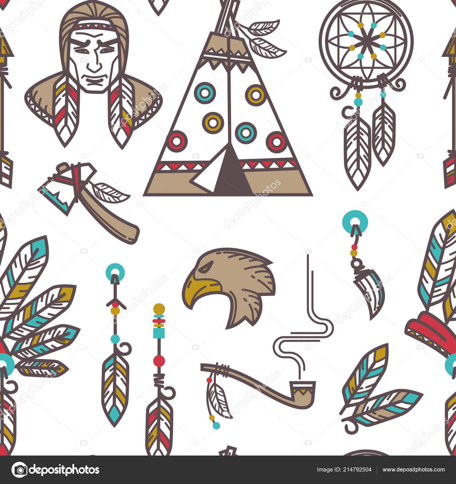 Native American Indians Traditional Culture Symbols Vector Icons.