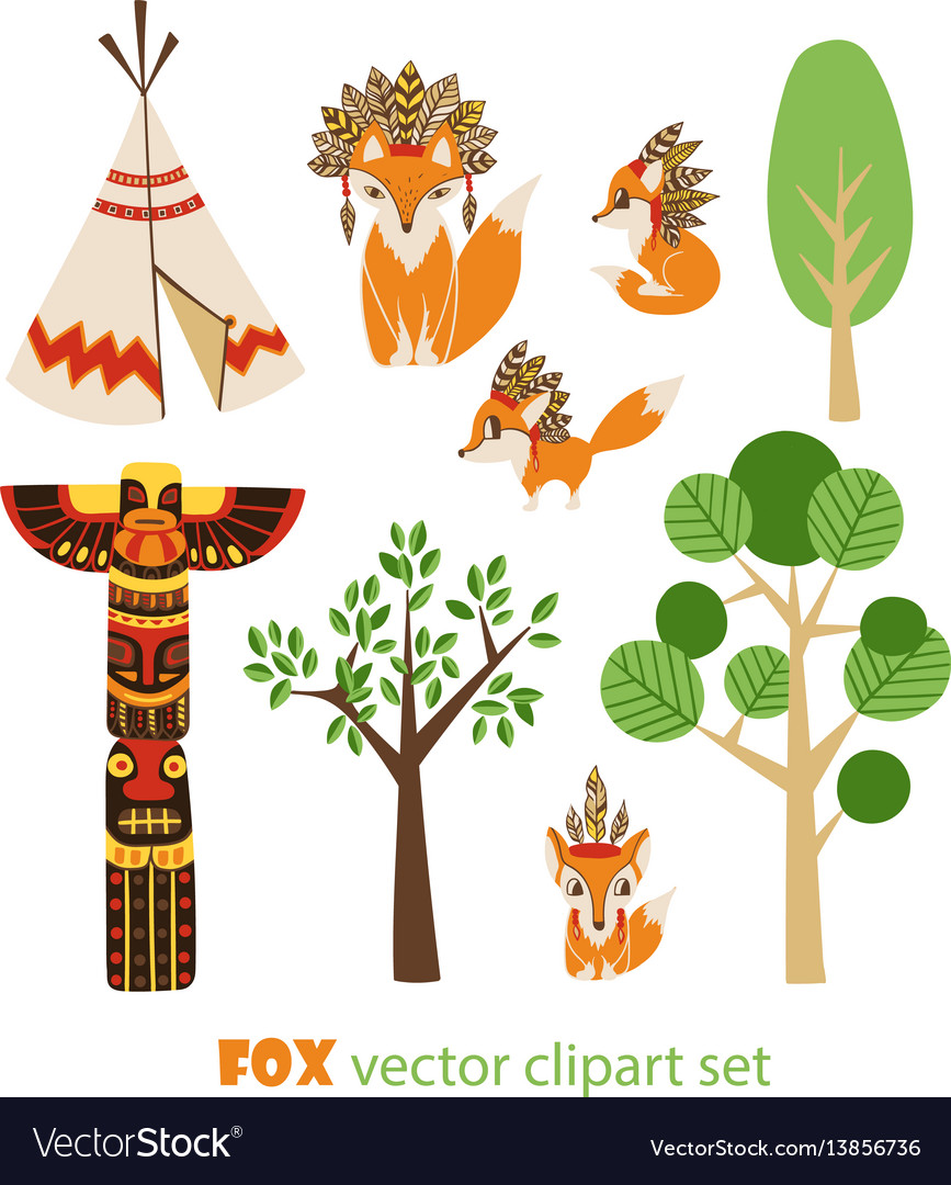 Clipart set with foxes in american indian.