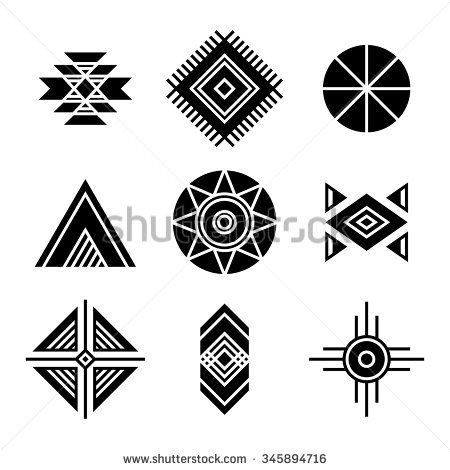 Native American Indians Tribal Symbols Set. Geometric shapes icons.