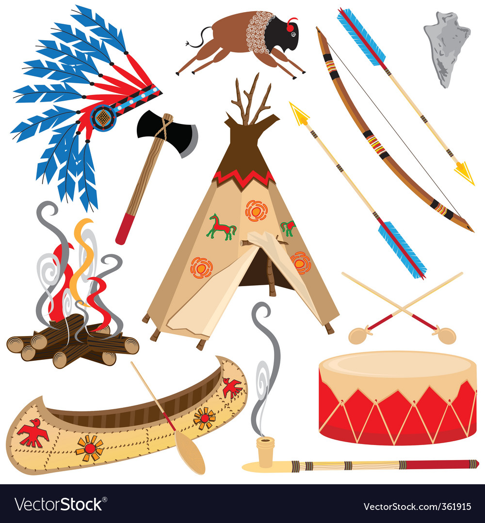 American Indian clipart icons.