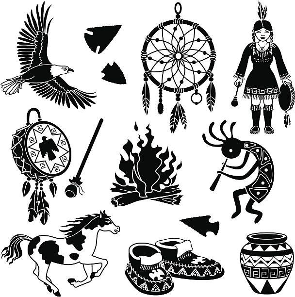 Native American Indian Designs Silhouette Clip Art, Vector.