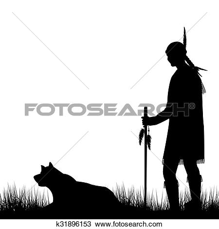 Drawing of American Indian silhouette with dog k31896153.