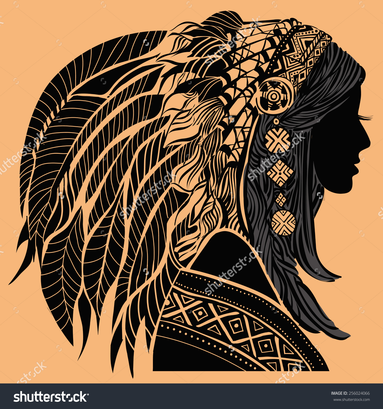 Young Woman Costume American Indian Silhouette Stock Vector.