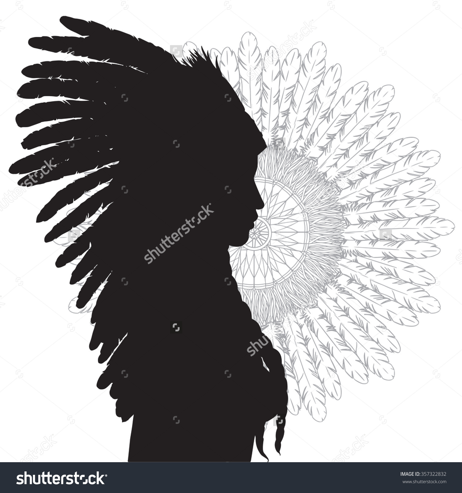 Young Beautiful Woman Costume American Indian Stock Vector.