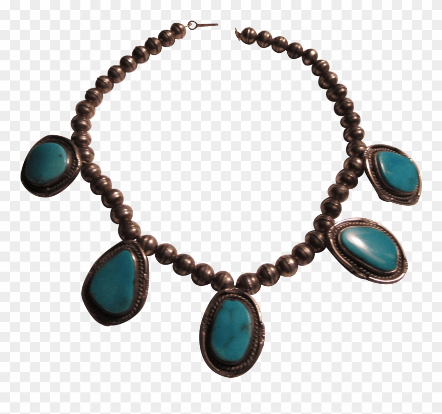 Native American Silver And Turquoise Pendants Necklace.