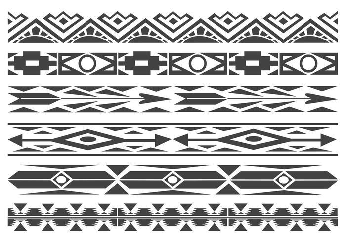 Monochrome Native American Pattern Vector Borders.