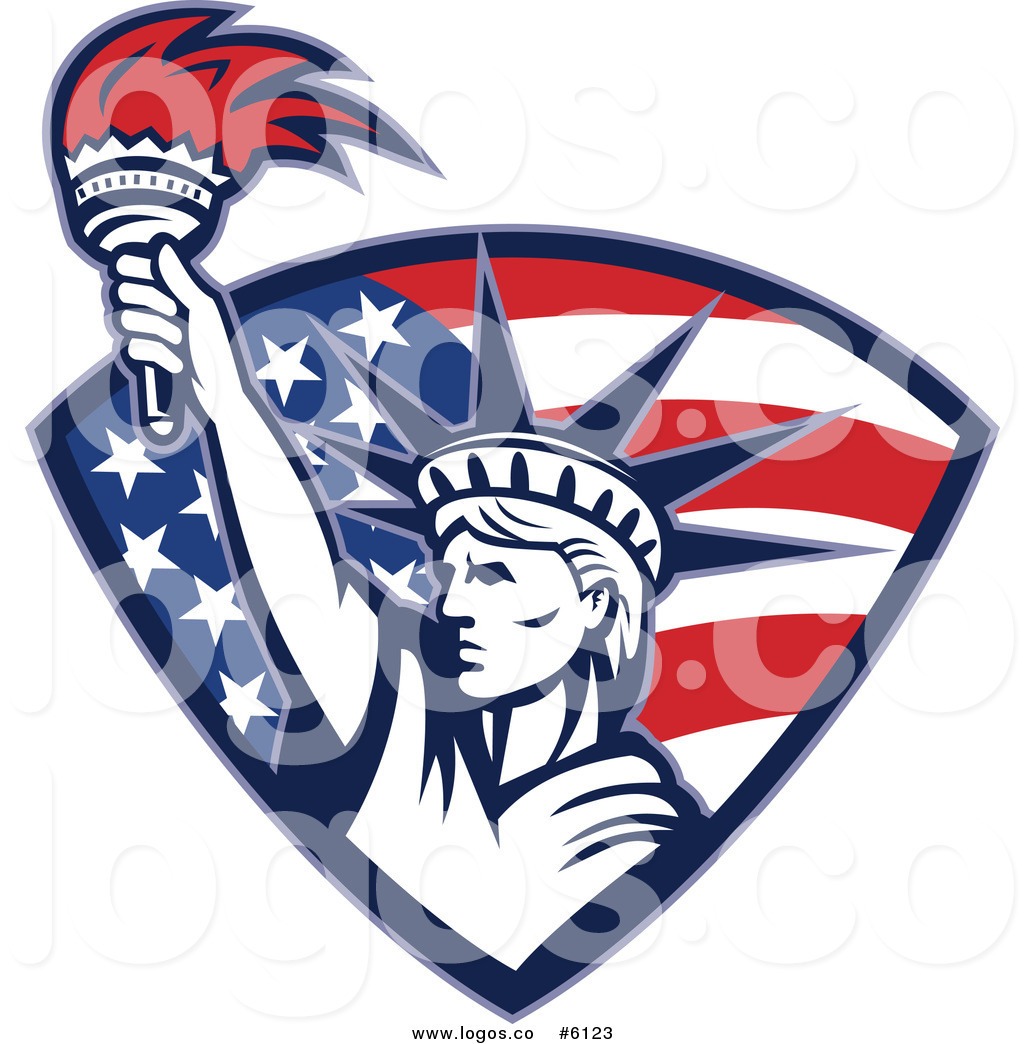 Royalty Free Clip Art Vector Logo of a Statue of Liberty.