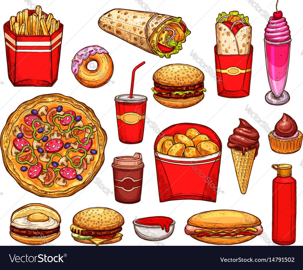 Fast food lunch with sandwich drink and dessert.