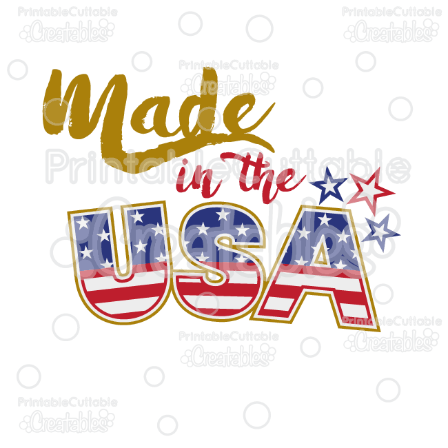 Made in the USA Title SVG Cut File & Clipart.