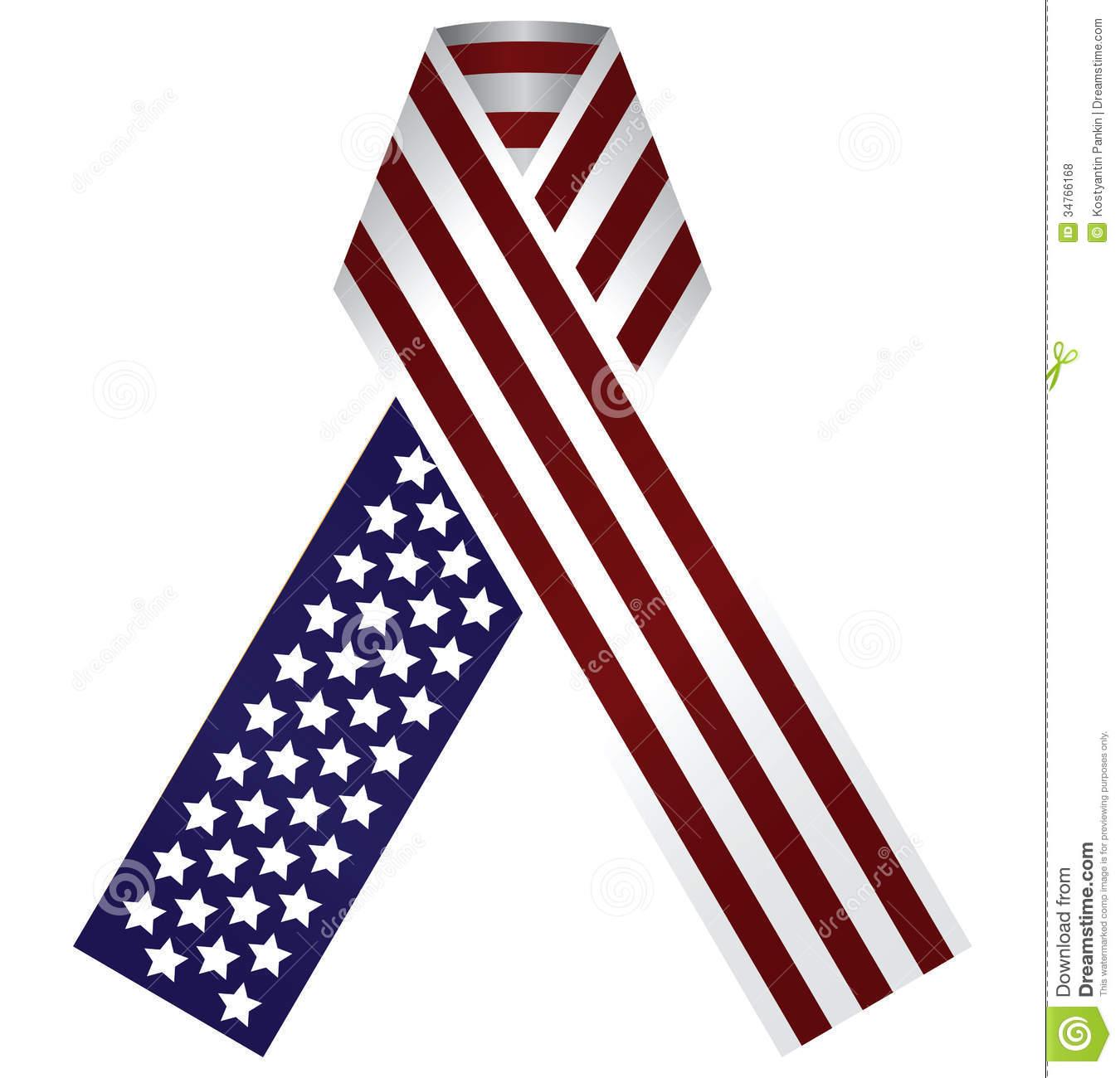 American flag ribon clipart.