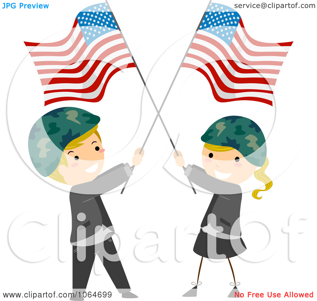 Clipart Memorial Day Kids Wearing Helmets And Holding American.