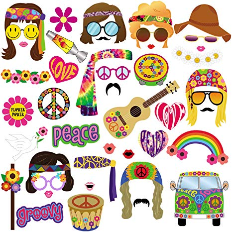 60s Photo Booth Props, 45pcs BizoeRade 60s Party Photo Booth, 1960s Theme  Hippie Party Decorations, 60\'s Flower Power Photo Props for Groovy Party.