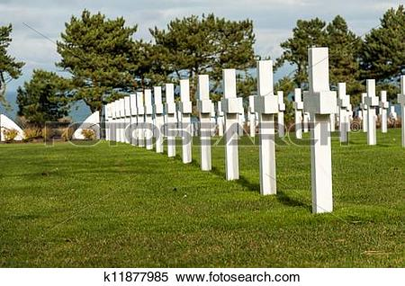 Stock Image of American military cemetery of the fallen during the.