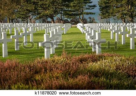 Stock Photography of American military cemetery of the fallen.