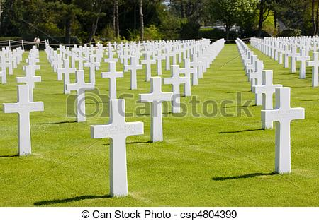 Stock Photographs of American Military Cemetery, Omaha Beach.