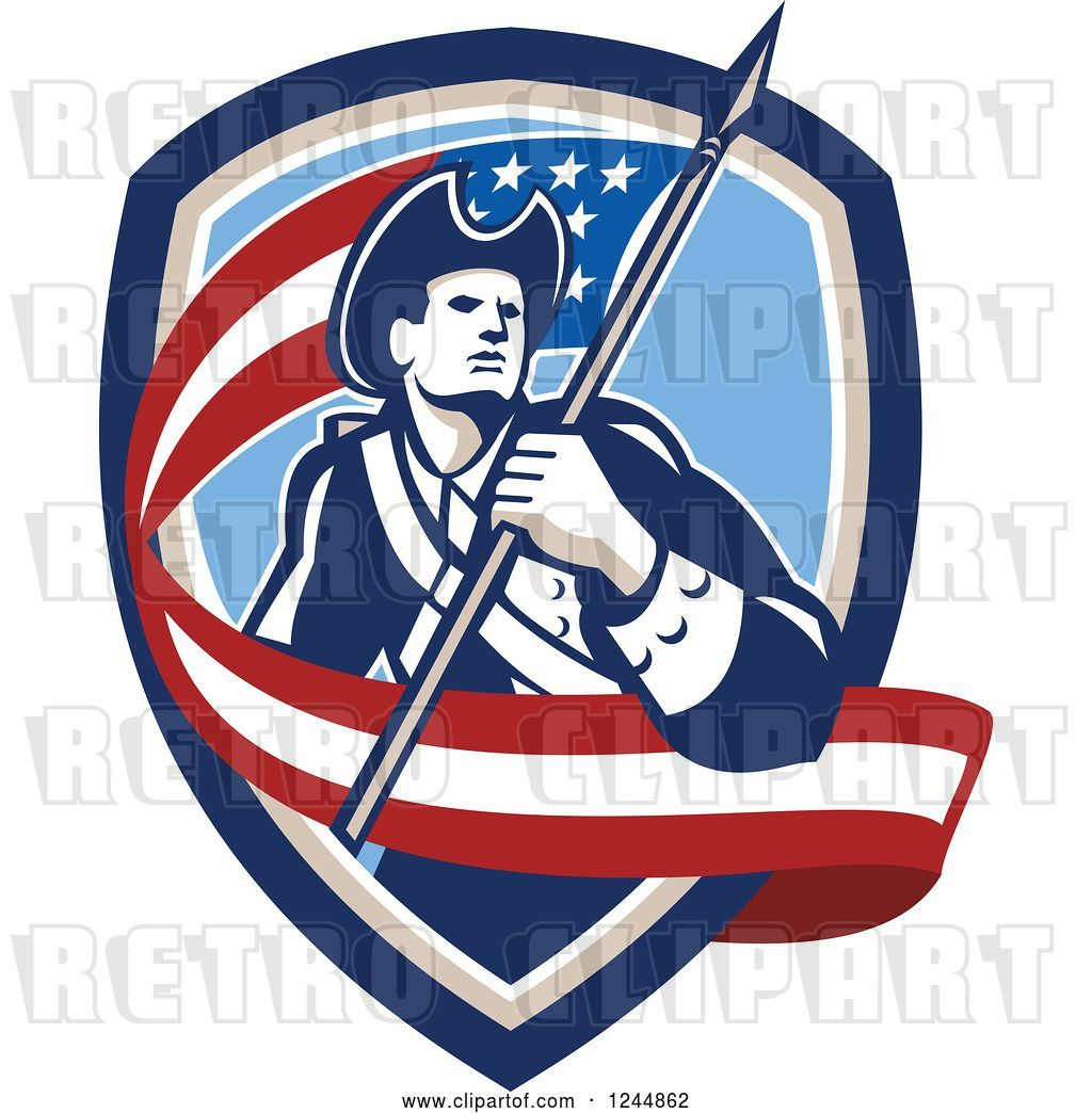 Vector Clip Art of Retro American Revolutionary Soldier.