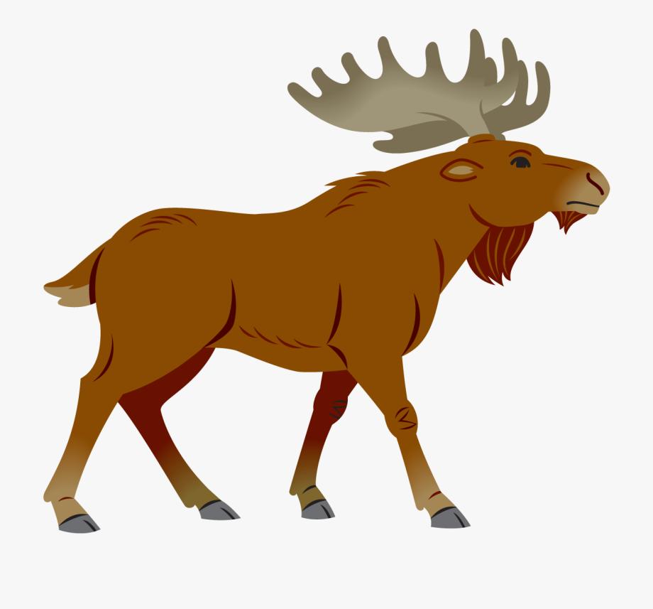 Moose Clipart Simple Cartoon.