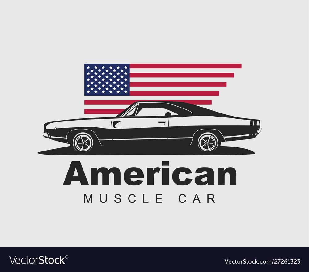 American muscle car supercar garage logo.