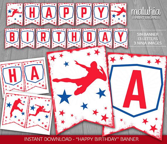 American Ninja Warrior Birthday Banner.