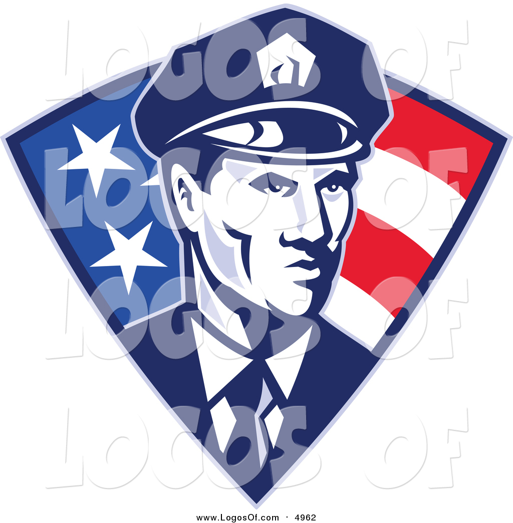 Vector Clipart of a Retro Police Officer in an American.