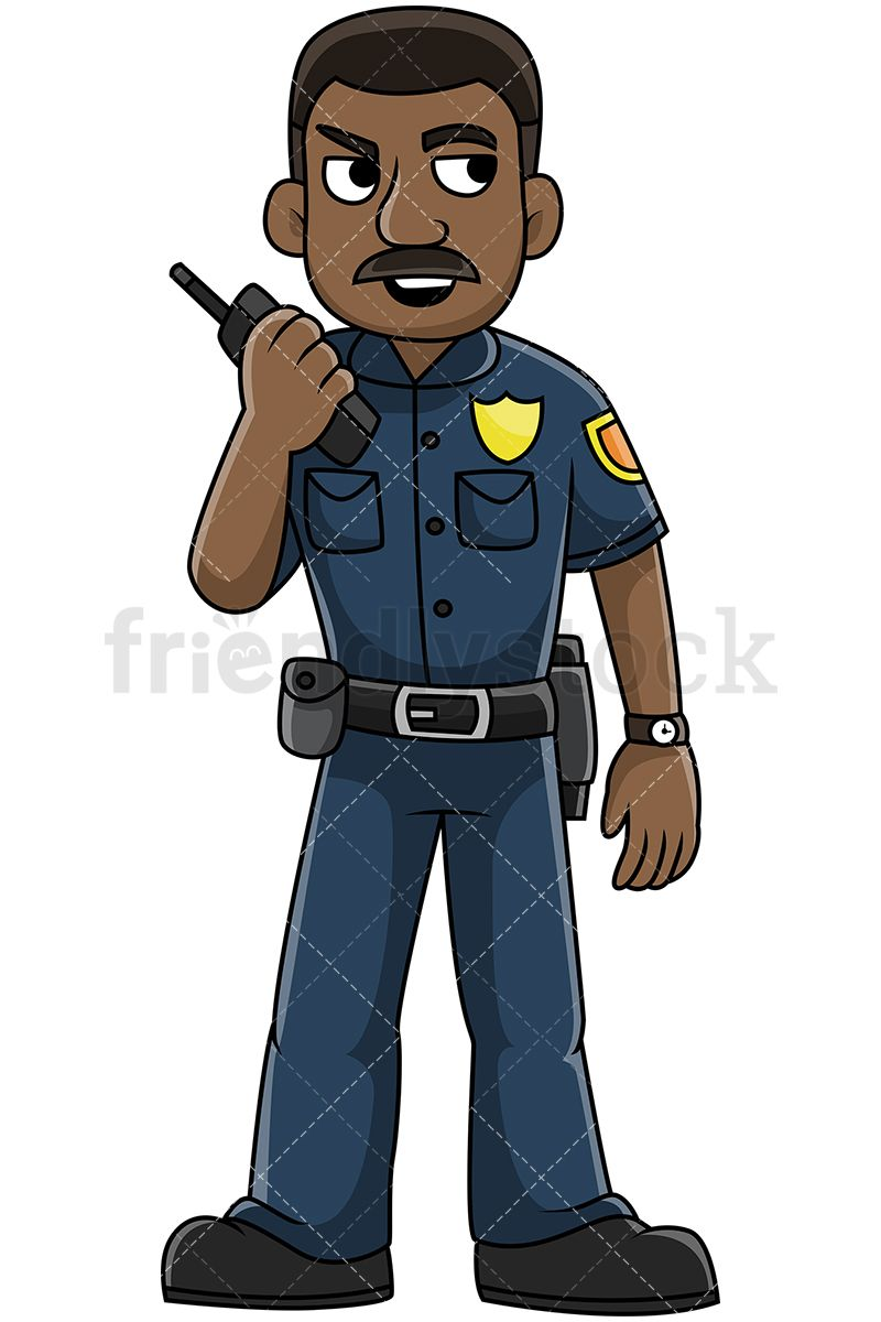 African American Police Officer Talking On The Radio in 2019.