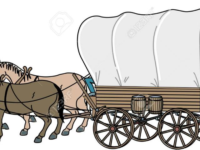 Pioneer clipart horse drawn wagon, Pioneer horse drawn wagon.