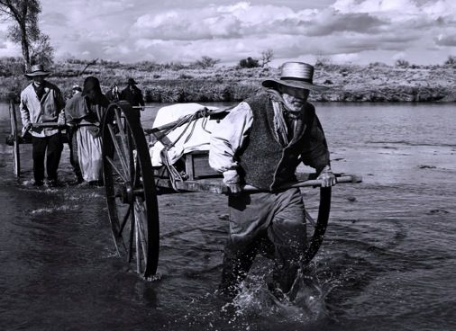 Early settlers, like these pioneers crossing the Platte.