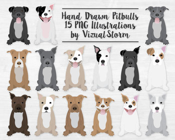Pitbull Clipart Bundle.