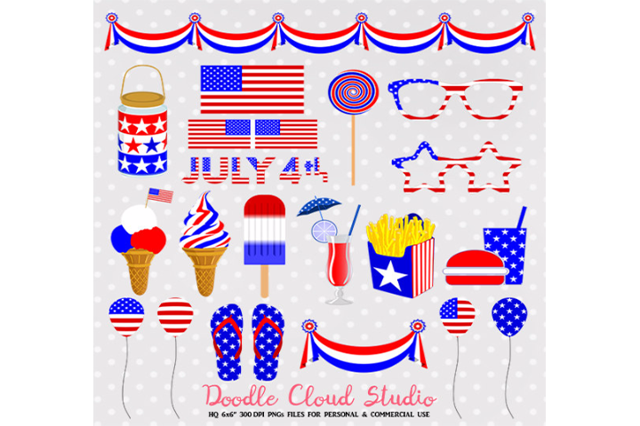 4 July Clipart Food drink American flag Usa planner stickers icecream  glasses baloons PNG Transparent Background Personal & Commercial Use.