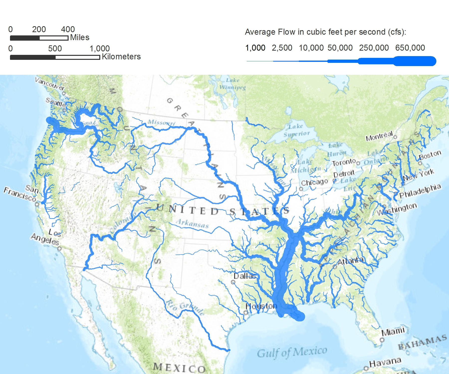 Bodies of water of the united states clipart.