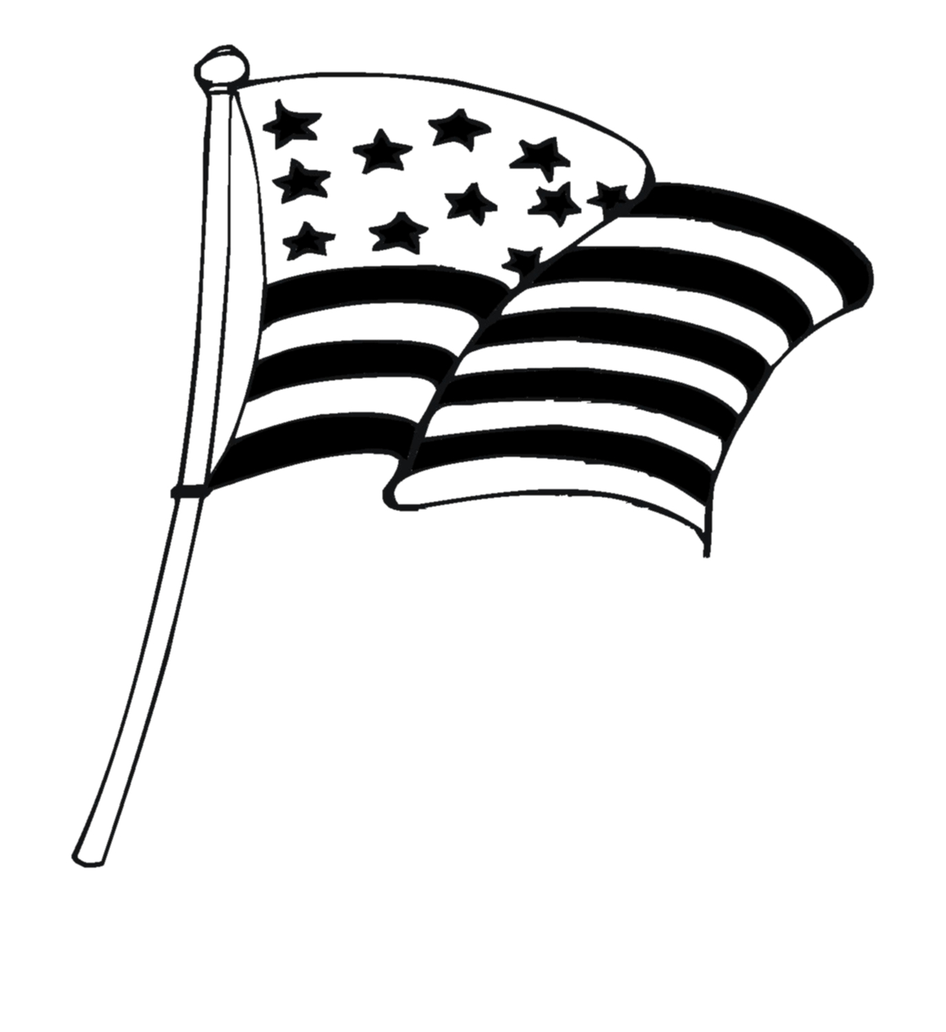 American Flag Black And White Clipart Cross.