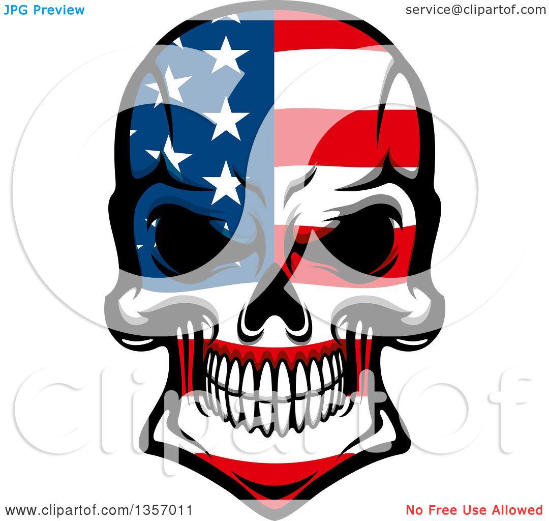 American Flag Skull Clipart.