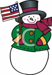 Christmas Snowman With An American Flag.