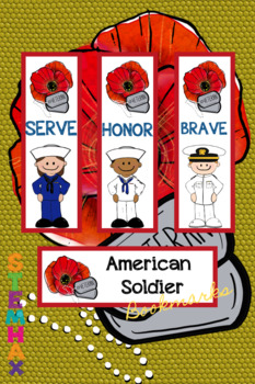 American Soldier Bookmarks Kids Veterans Day Patriotic Color and B&W.