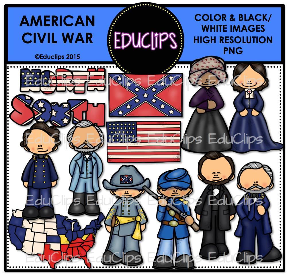 American Civil War Clip Art Bundle (Color and B&W).