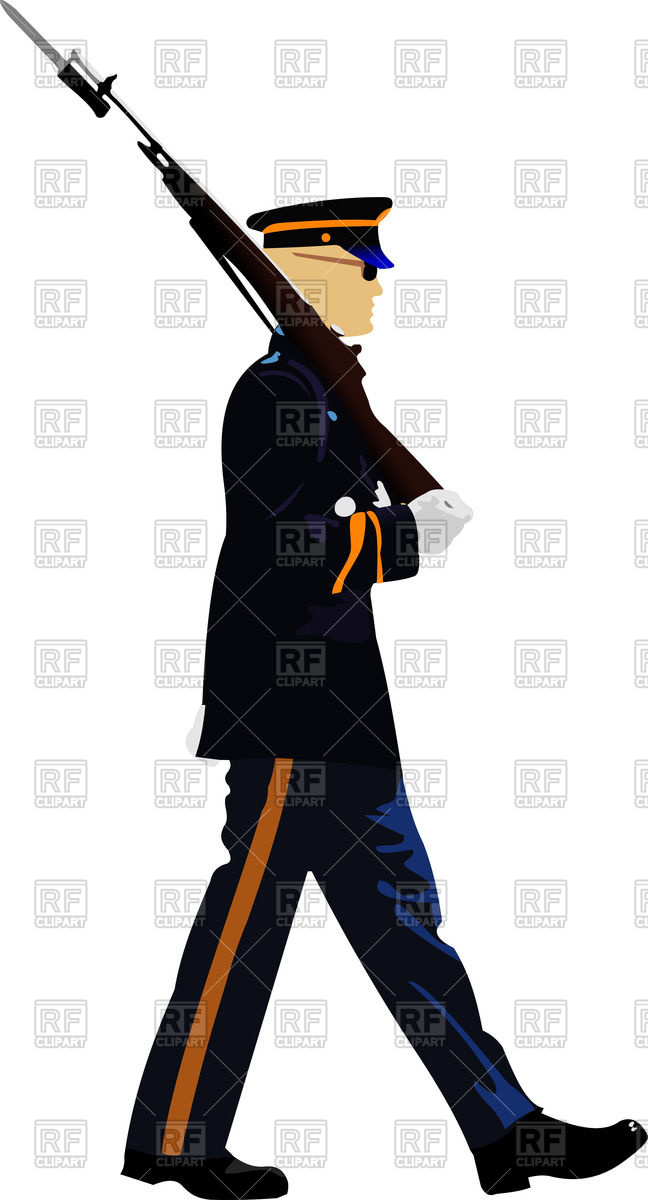 American soldier during a military parade Stock Vector Image.