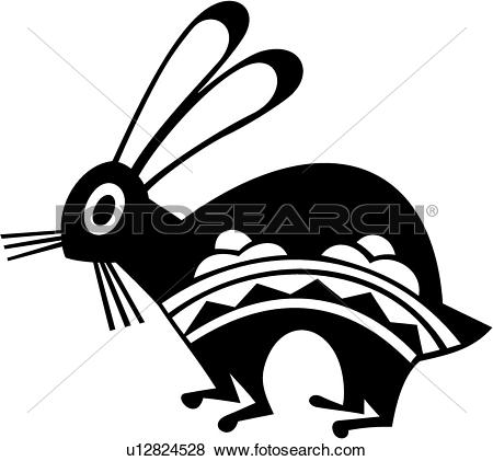 Clipart of , american, animal, bunnies, bunny, native, rabbit.