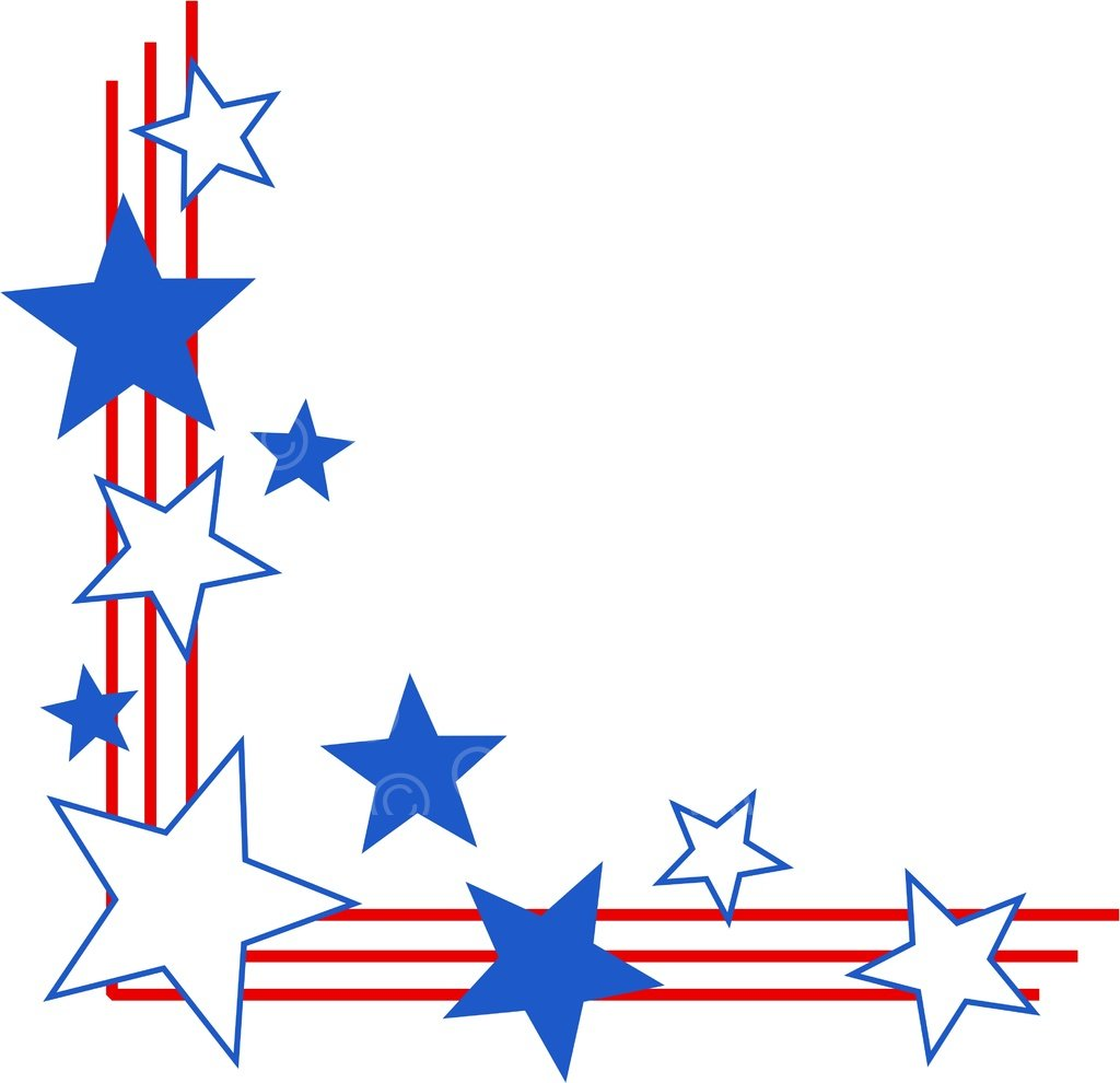 American Stars & Stripes Page Border Prawny Frame Clip Art.