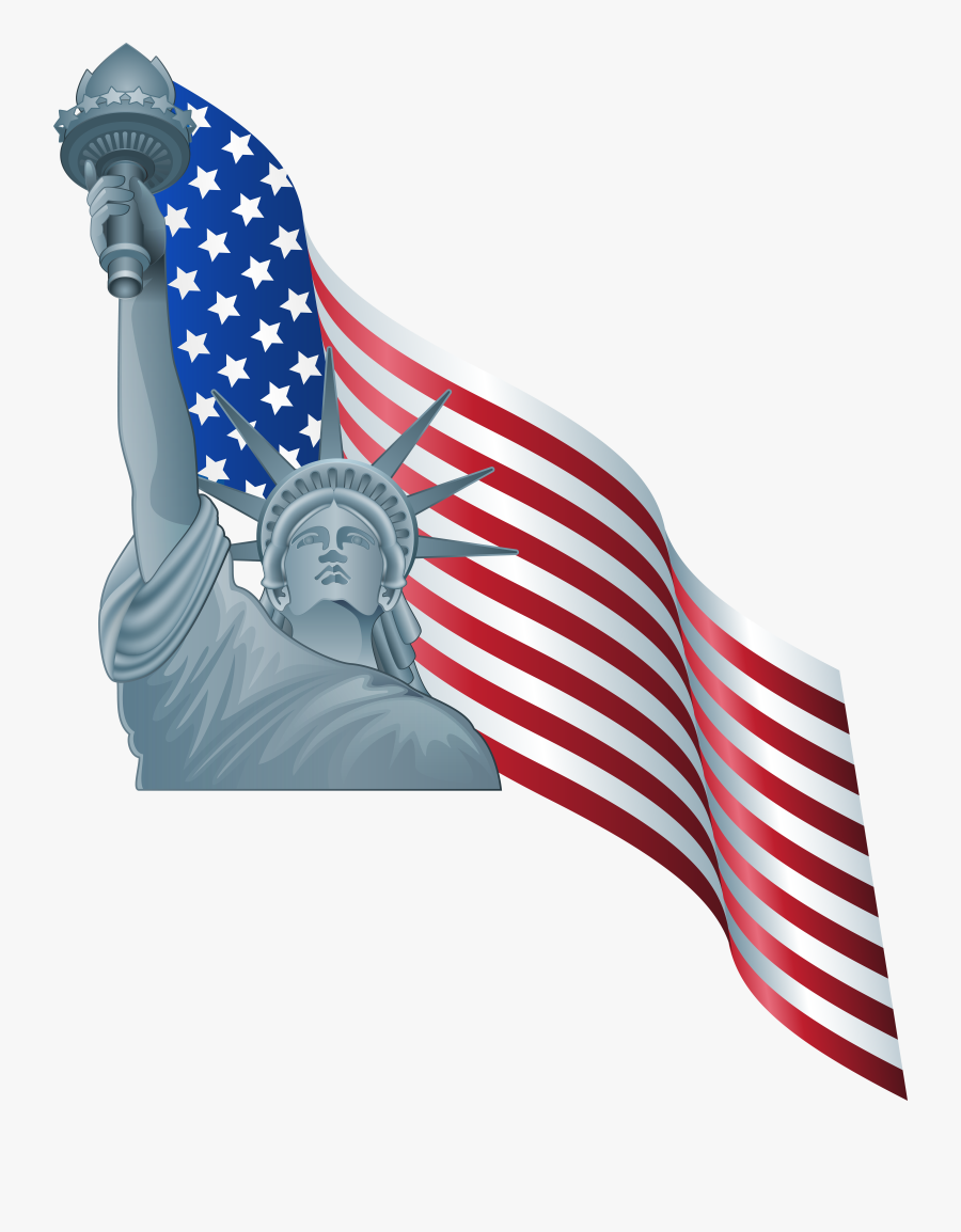 American Flag And Statue Of Liberty Png Clip Art.